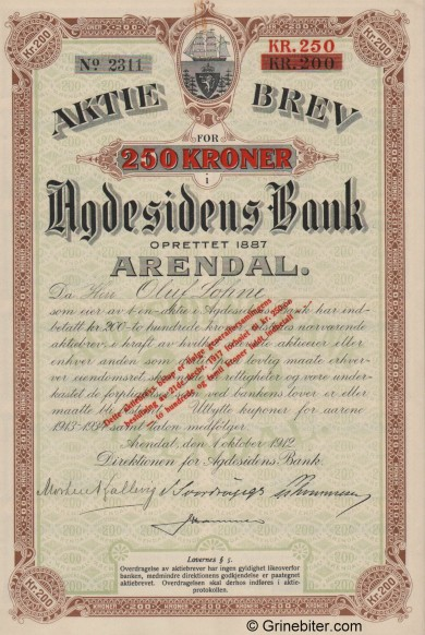 Agdesidens Bank A/S - Picture of Norwegian Bank Certificate