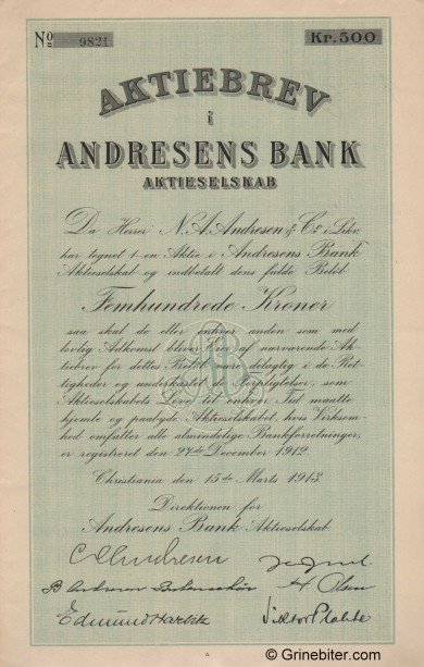 Andresens Bank A/S - Picture of Norwegian Bank Certificate
