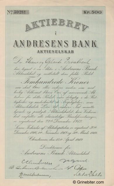 Andresens Bank A/S - Picture of Norwegian Bank Certificate