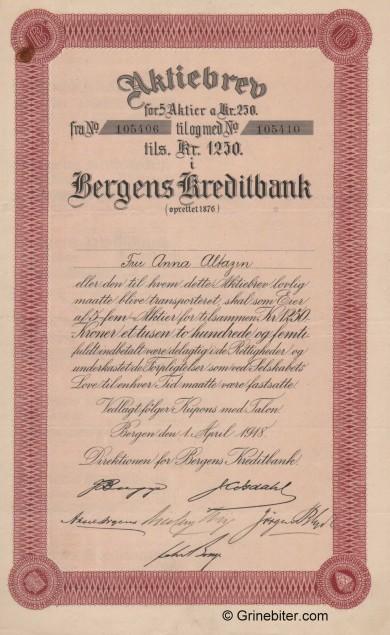 Bergens Kreditbank A/S - Picture of Norwegian Bank Certificate