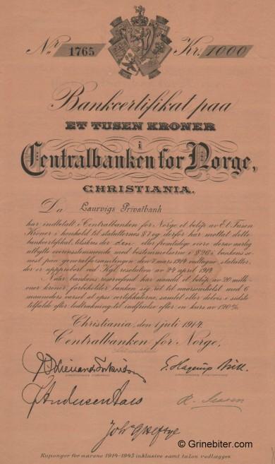 Centralbanken for Norge aksjebrev old stock Certificate