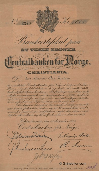 Centralbanken for NORGE - Picture of Norwegian Bank Certificate