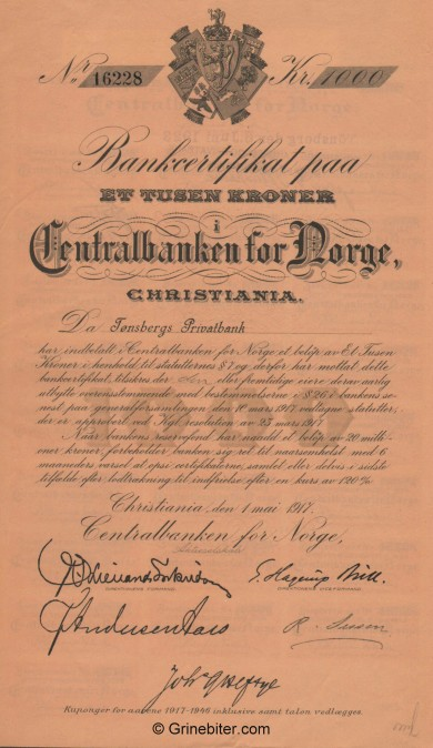 Centralbanken for NORGE - Picture of Norwegian Bank Certificate