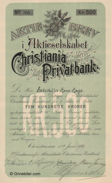 Christiania Privatbank aksjebrev old stock Certificate