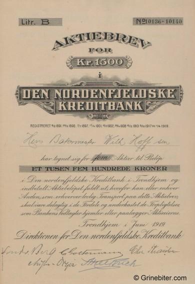 Den Nordenfjeldske K/Bank - Picture of Norwegian Bank Certificate