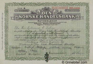 Den Norske Handelsbank - Picture of Norwegian Bank Certificate