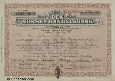 Den Norske Handelsbank - Picture of Norwegian Bank Certificate