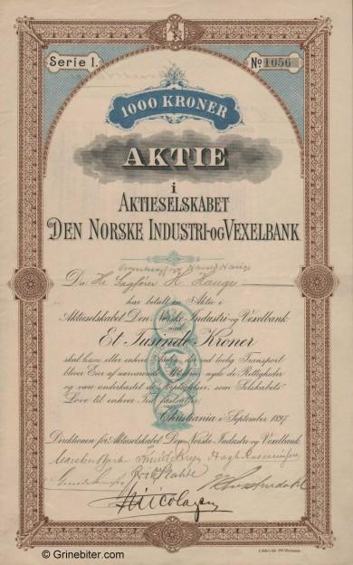 Den Norske Industri og Vexelbank aksjebrev old stock Certificate