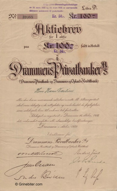 Drammens Privatbank A/S - Picture of Norwegian Bank Certificate