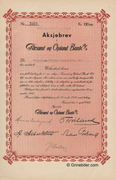 Farsund og Opland Bank - Picture of Norwegian Bank Certificate