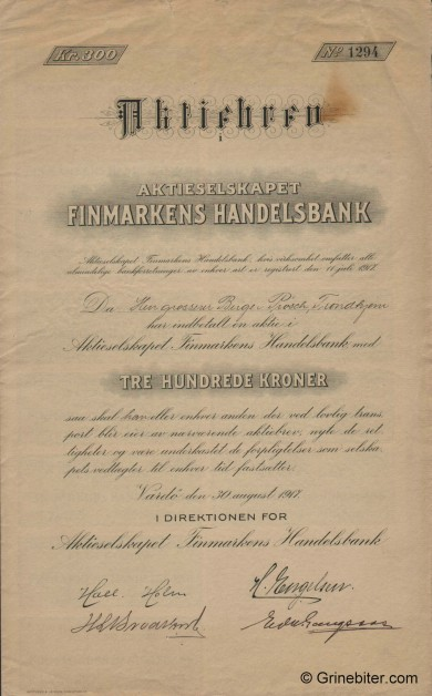 Finmarkens Handelsbank - Picture of Norwegian Bank Certificate