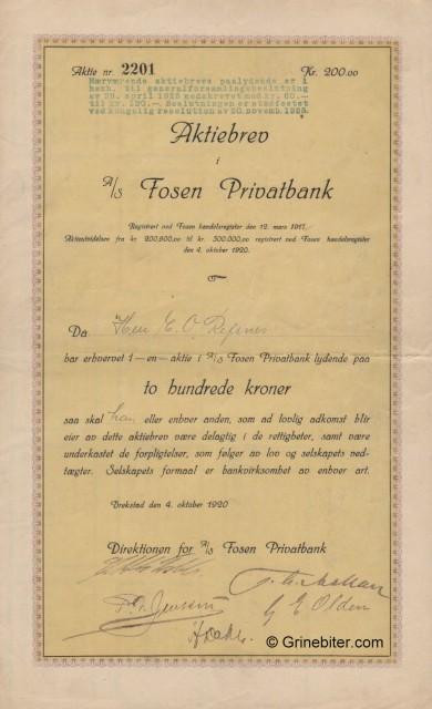 Fosen Privatbank AS - Picture of Norwegian Bank Certificate