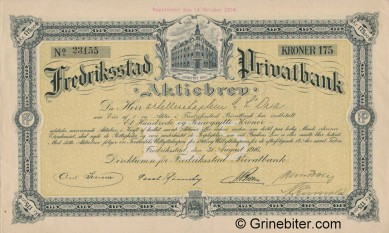 Fredrikstad Privatbank A/S - Picture of Norwegian Bank Certificate