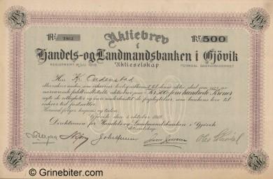 Gjøviks Handels og Landbank - Picture of Norwegian Bank Certificate