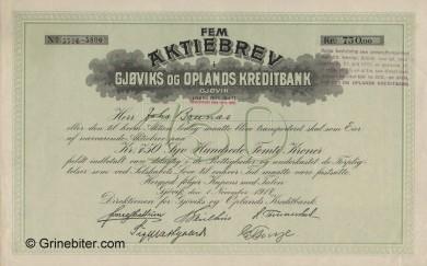 Gjøviks og Oplands Kredittbank - Picture of Norwegian Bank Certificate