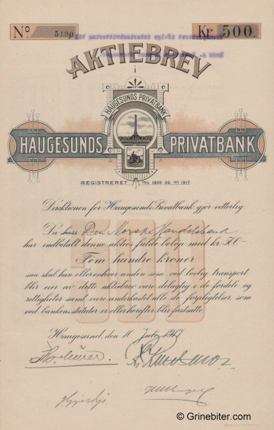 Haugesunds Kreditbank - Picture of Norwegian Bank Certificate