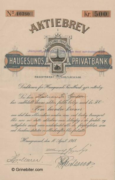 Haugesunds Kreditbank - Picture of Norwegian Bank Certificate