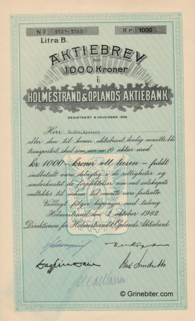 Holmestrand & Oplands AB - Picture of Norwegian Bank Certificate