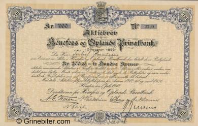 Hønefoss og Oplands PB - Picture of Norwegian Bank Certificate