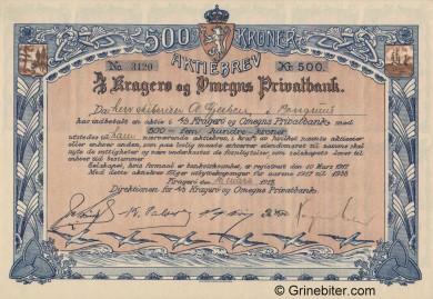 Kragerø og Omegns Privatbank - Picture of Norwegian Bank Certificate