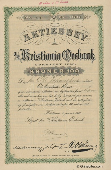 Kristiania Ørebank A/S - Picture of Norwegian Bank Certificate