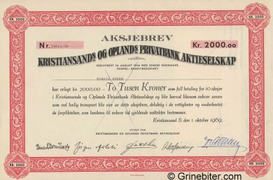 Kristiansands & Opland Privatbank - Picture of Norwegian Bank Certificate