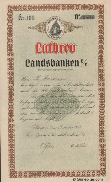Landsbanken L/L - Picture of Norwegian Bank Certificate
