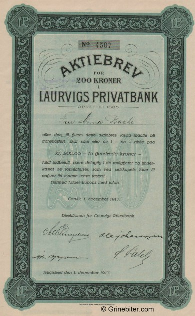 Laurvigs Privatbank A/S - Picture of Norwegian Bank Certificate