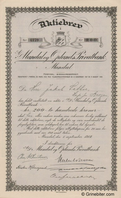 Mandal og Oplands Privatbank - Picture of Norwegian Bank Certificate