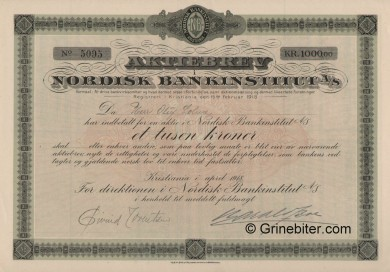 Nordisk Bankinstitut A/S - Picture of Norwegian Bank Certificate