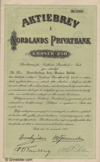 Nordlands Privatbank A/S - Picture of Norwegian Bank Certificate