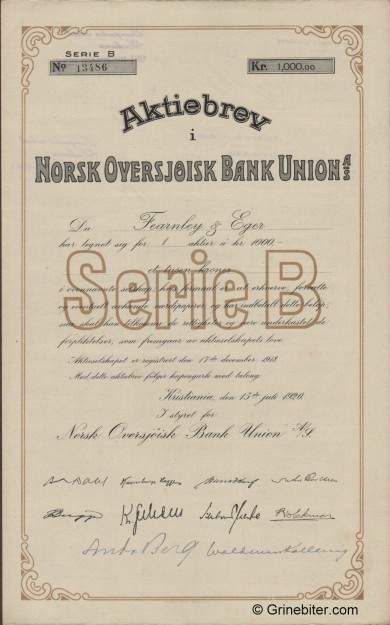 Norsk Oversjøisk B. Union - Picture of Norwegian Bank Certificate
