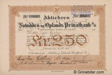 Notodden og Oplands Privatbank - Picture of Norwegian Bank Certificate