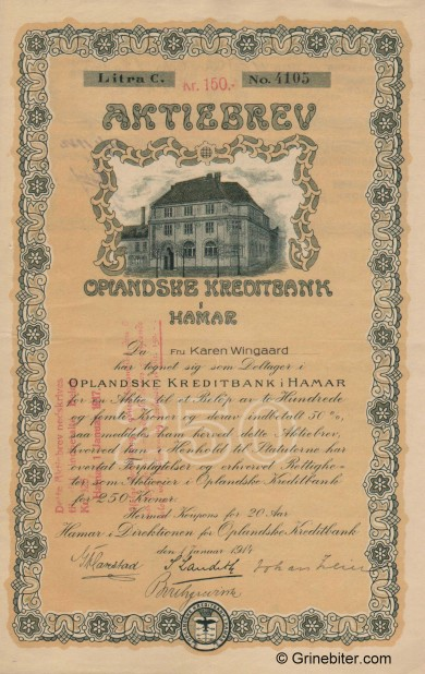 Oplandske Kreditbank A/S - Picture of Norwegian Bank Certificate