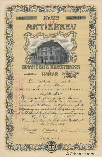 Oplandske Kreditbank i Hamar aksjebrev old stock Certificate