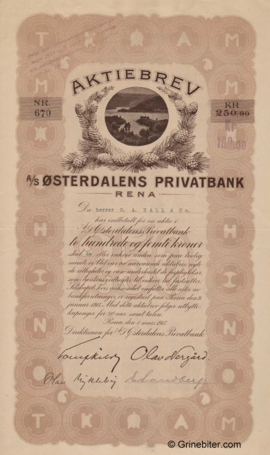 Østerdalens Privatbank - Picture of Norwegian Bank Certificate