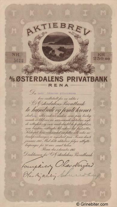 Østerdalens Privatbank - Picture of Norwegian Bank Certificate