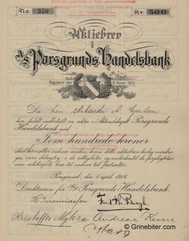 Porsgrunds Handelsbank - Picture of Norwegian Bank Certificate