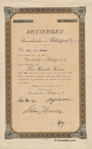 Privatbanken i Flekkefjord - Picture of Norwegian Bank Certificate