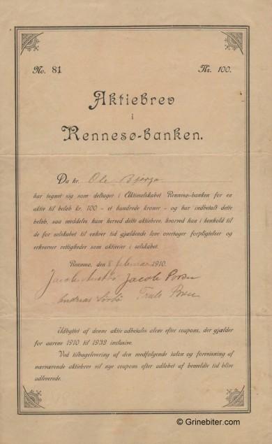 Rennesø-Banken A/S - Picture of Norwegian Bank Certificate