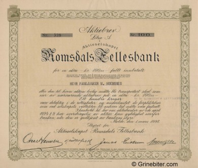 Romsdals Fellesbank A/S - Picture of Norwegian Bank Certificate
