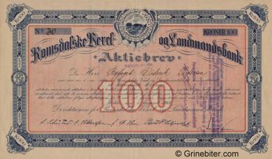 Romsdalske Vexel og Landmandsbank - Picture of Norwegian Bank Certificate
