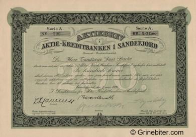 Sandefjord Kredibank A/S - Picture of Norwegian Bank Certificate