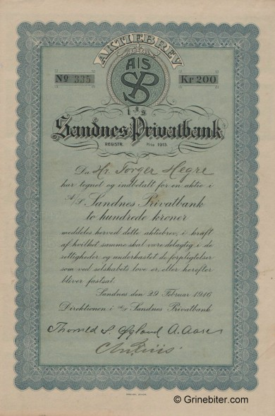 Sandnes Privatbank A/S - Picture of Norwegian Bank Certificate