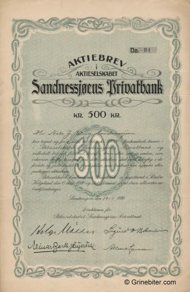 Sandnessjøens Privatbank - Picture of Norwegian Bank Certificate