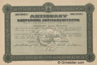 Sarpsborg Aktiekreditbank - Picture of Norwegian Bank Certificate
