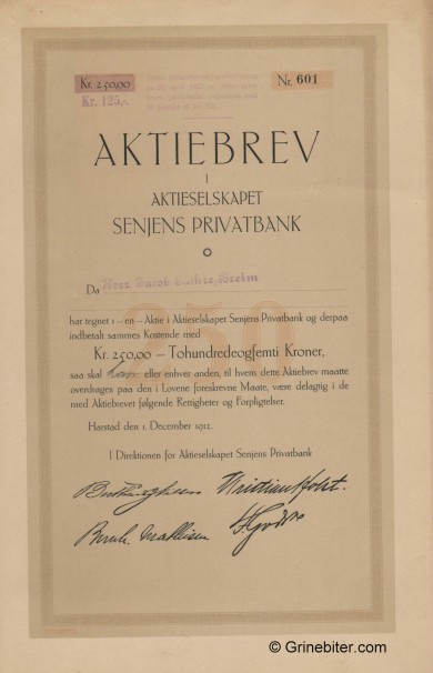 Senjens Privatbank A/S - Picture of Norwegian Bank Certificate