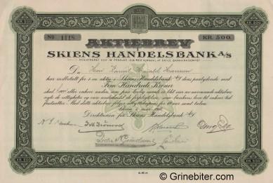 Skiens Handelsbank A/S - Picture of Norwegian Bank Certificate