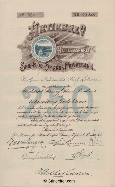 Skiens og Oplands Privatbank - Picture of Norwegian Bank Certificate