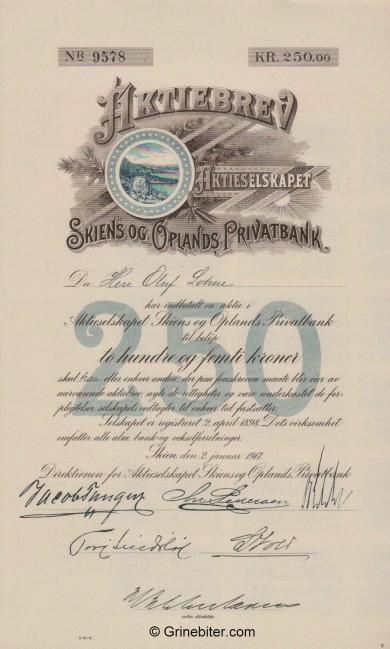 Skiens og Oplands Privatbank - Picture of Norwegian Bank Certificate